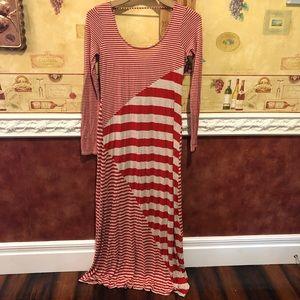 Ella Moss red striped maxi dress